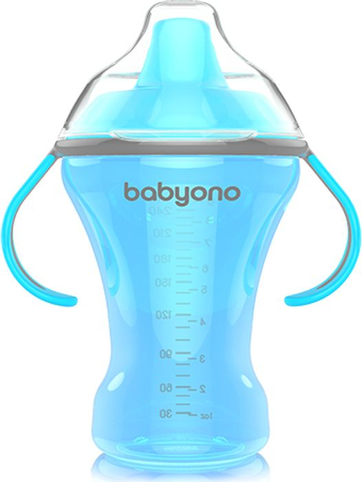 BabyOno Поильник непроливайка Natural Nursin 260 мл цвет голубой недорого