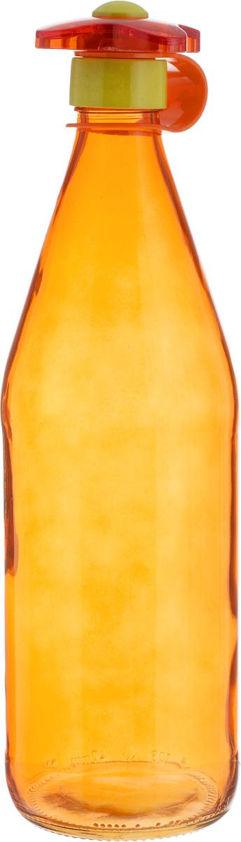 Бутылка для напитков Herevin, цвет: оранжевый, 1 л111630-000Бутылка для напитков Herevin выполнена из качественного прочного цветного стекла. Она легка в использовании, гигиенична, проста в уходе. Емкость оснащена оригинальной закручивающейся пробкой в форме цветка и снабжена силиконовым ремешком. Горлышко плотно закрывается, благодаря этому внутри сохраняется герметичность, и содержимое дольше остается свежим. Такая бутылка подойдет для хранения молока, сока, воды, коктейлей и других напитков, а также подсолнечного или оливкового масла. Диаметр горлышка: 3 см. Диаметр основания: 8,5 см. Высота емкости: 30 см.