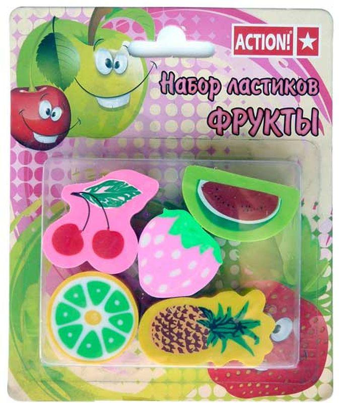 Фото - Action! Набор ластиков Фрукты 5 шт набор ластиков фрукты цветной 5шт блистер с е п