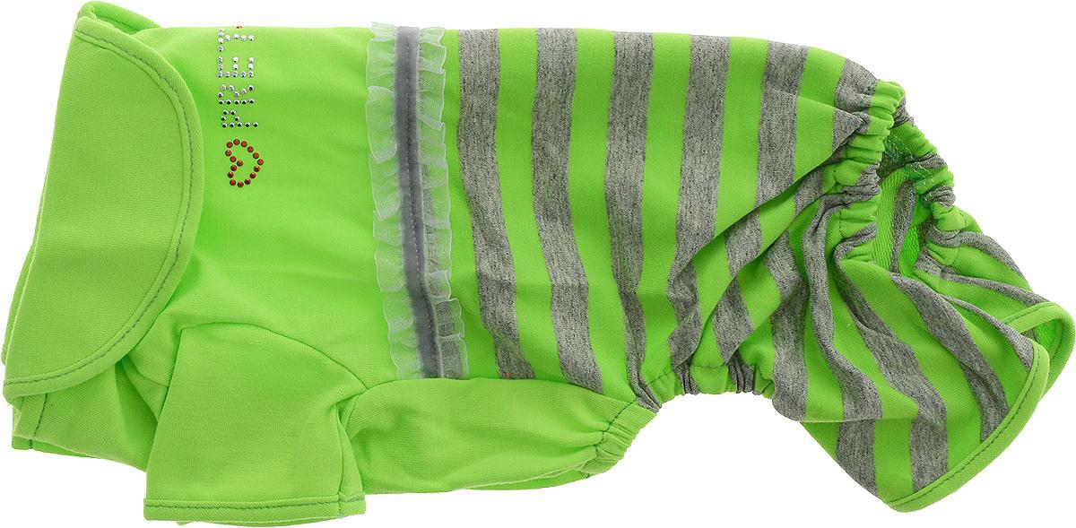 Комбинезон для собак Pret-a-Pet Фэшн Ультра, девочки, цвет: зеленый, серый. Размер S. MOS-002