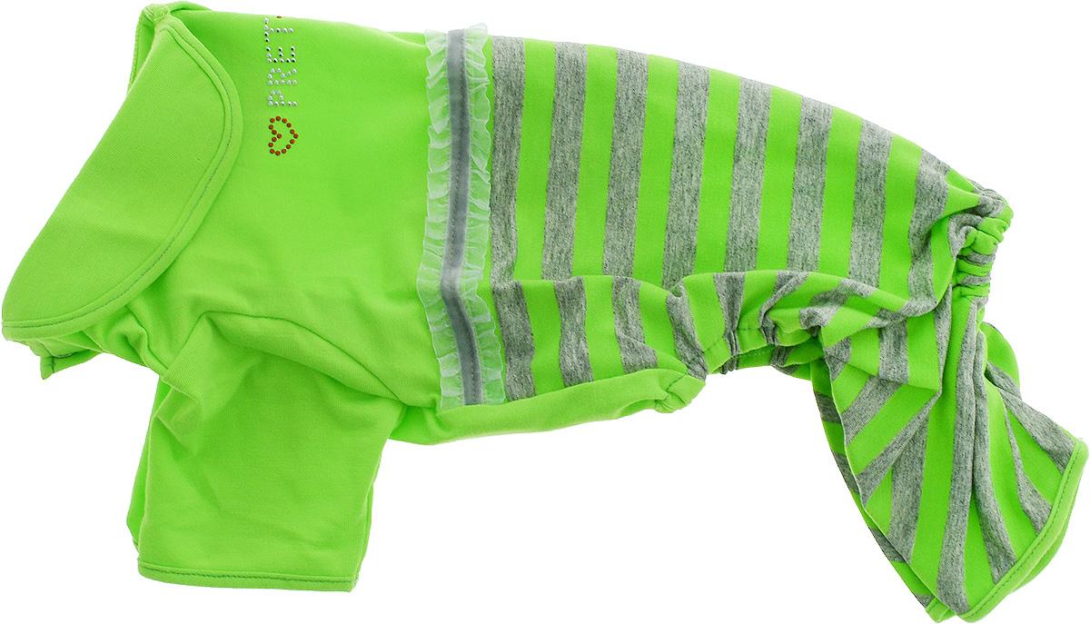 """Комбинезон для собак Pret-a-Pet """"Фэшн Ультра"""", для девочки, цвет: зеленый, серый. Размер L. MOS-002"""