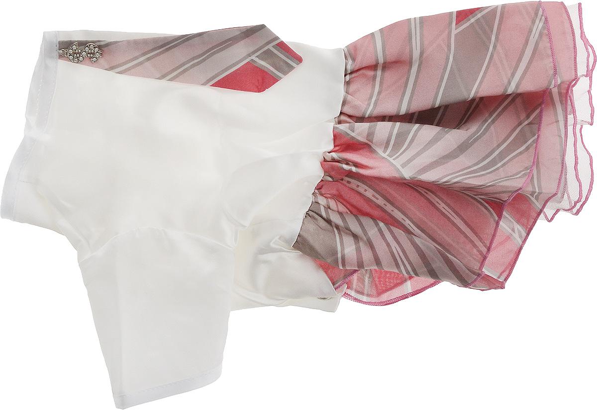 """Платье для собак Pret-a-Pet """"Галстук"""", для девочки, цвет: белый, розовый. Размер L"""