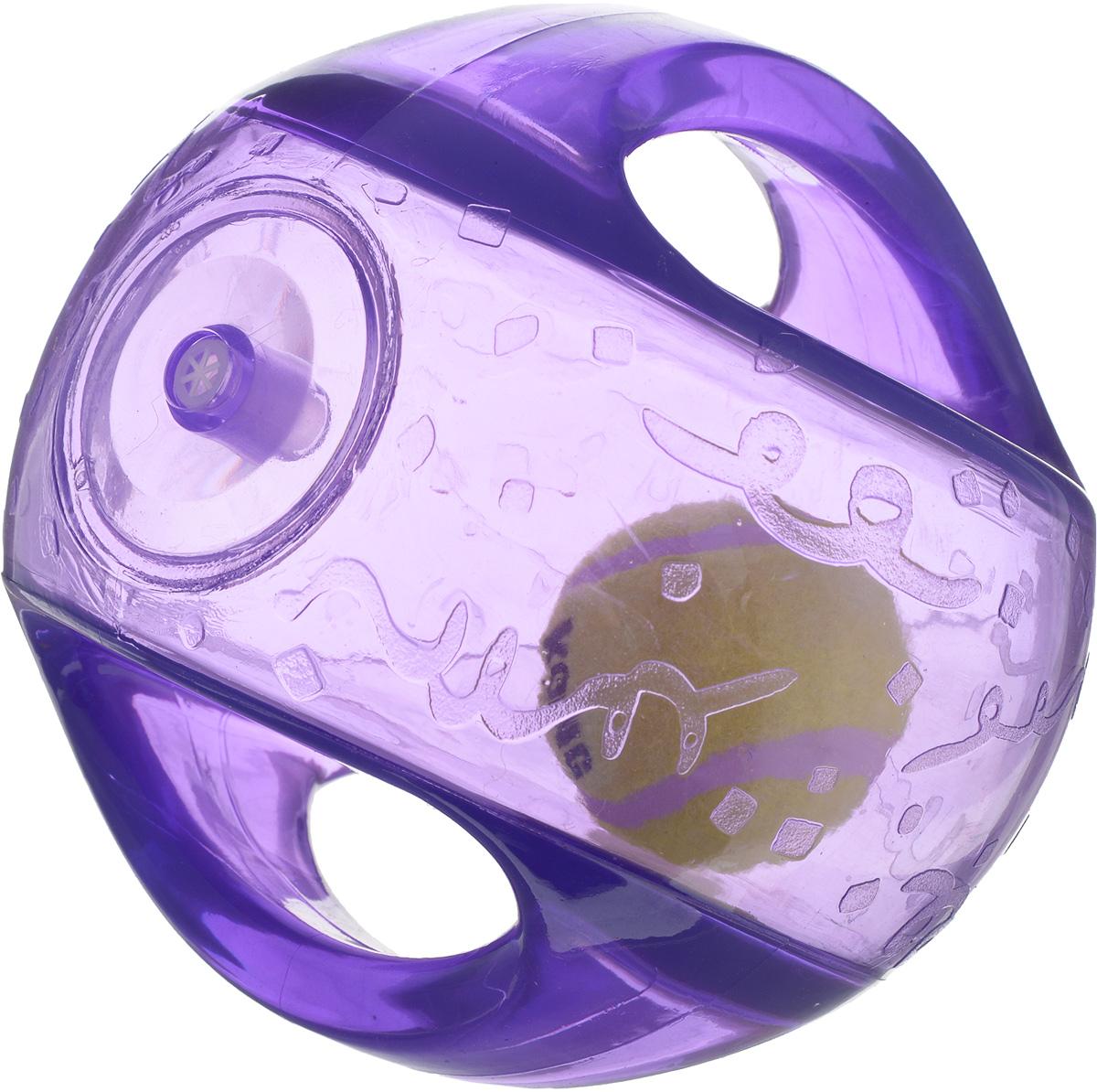 Игрушка для собак Kong Мячик, с пищалкой, цвет: прозрачный, фиолетовый, 12 х 12 х 12 см игрушка для собак kong косточка средняя с пищалкой цвет фиолетовый 15 5 х 6 5 х 3 5 см