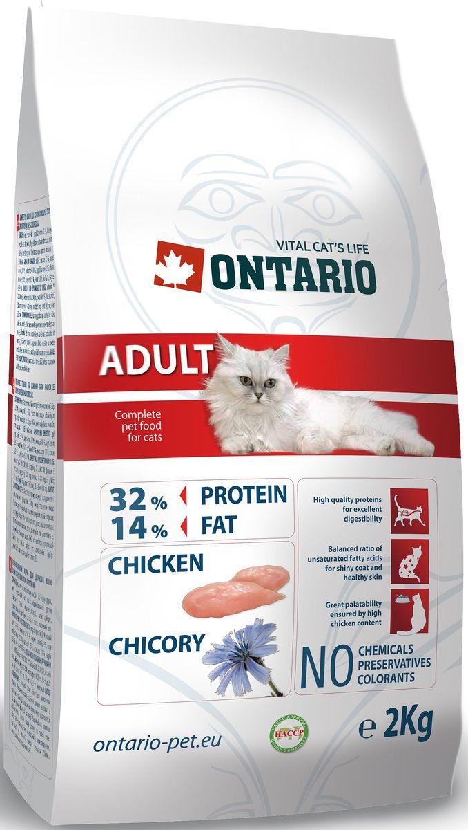 """Корм сухой Ontario """"Adult"""" для взрослых кошек, с курицей, 2 кг"""