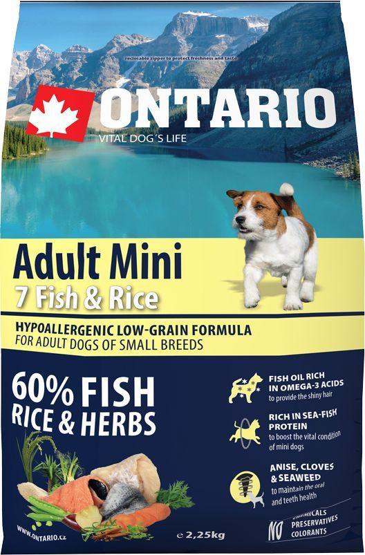 """Корм сухой Ontario """"Adult Mini"""" для собак мелких пород, с 7 видами рыбы и рисом, 2,25 кг Уцененный товар (№1)"""