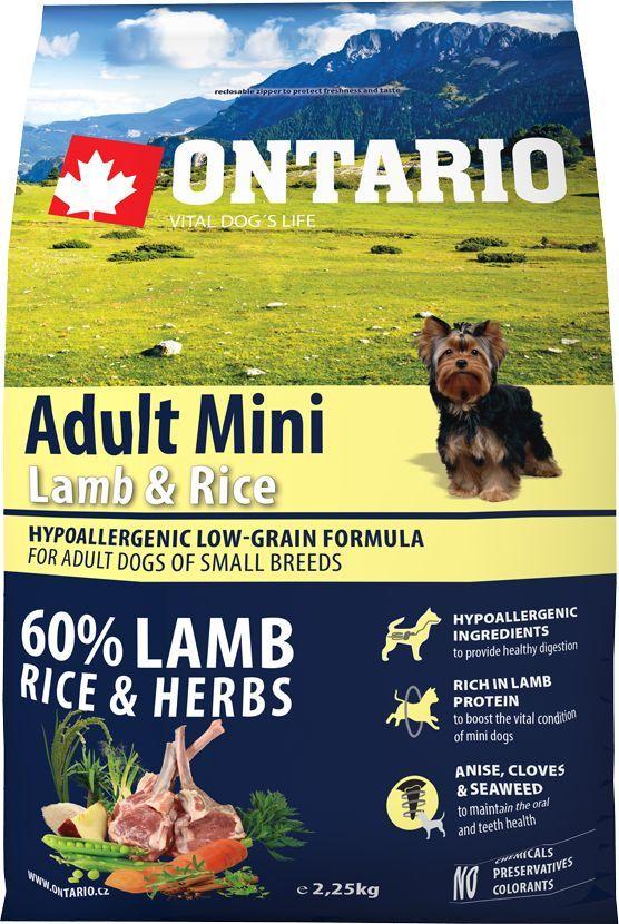 """Корм сухой Ontario """"Adult Mini"""" для собак мелких пород, с ягненком и рисом, 2,25 кг"""