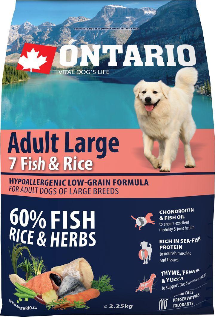 """Корм сухой Ontario """"Adult Large"""" для собак крупных пород, с 7 видами рыбы и рисом, 2,25 кг"""