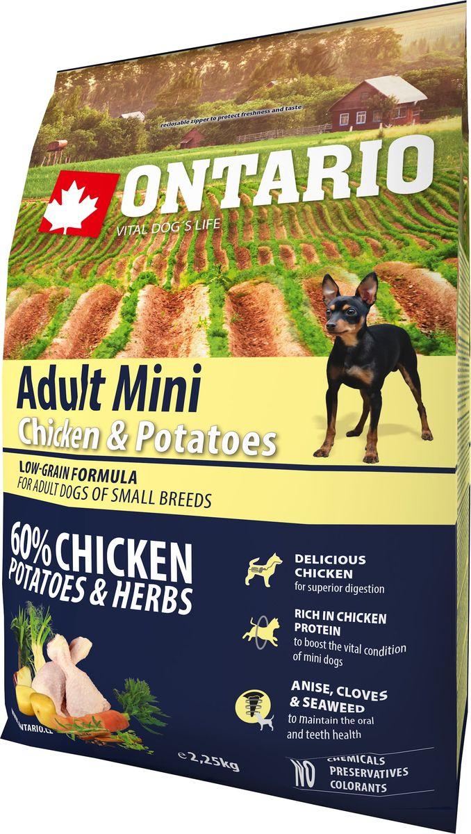 """Корм сухой Ontario """"Adult Mini"""" для собак мелких пород, с курицей и картофелем, 2,25 кг"""