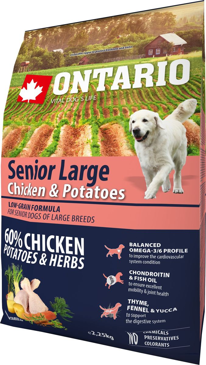 """Корм сухой Ontario """"Senior Large"""" для пожилых собак крупных пород, с курицей и картофелем, 2,25 кг"""