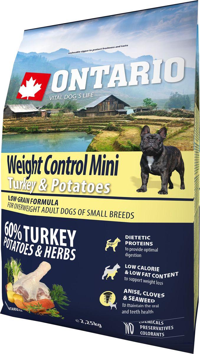 """Корм сухой Ontario """"Mini Weight Control"""" для собак мелких пород, с индейкой и картофелем, 2,25 кг"""