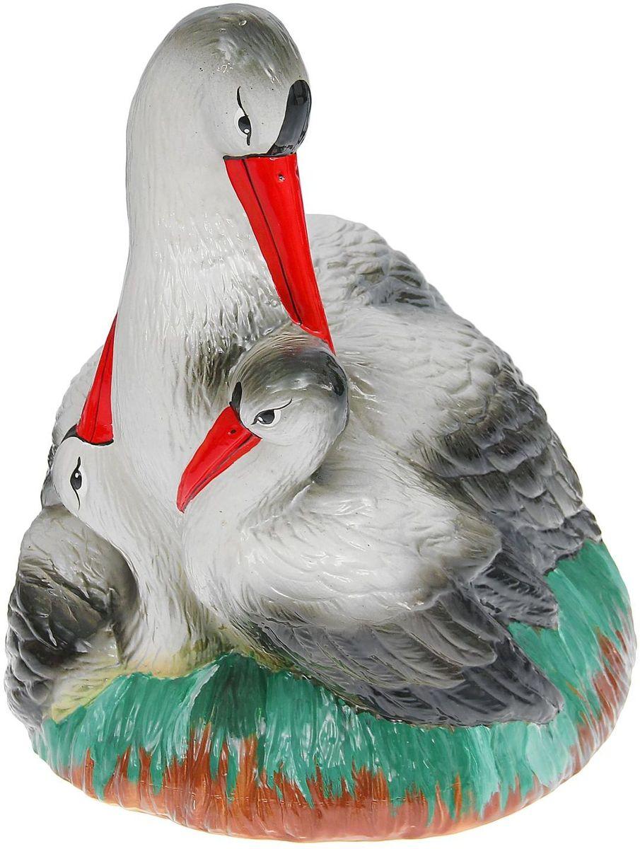 Фото - Фигура садовая Керамика ручной работы Семейство аистов в гнезде, 40 х 26 х 40 см фигура кормушка садовая керамика ручной работы арбуз 10 х 12 х 16 см