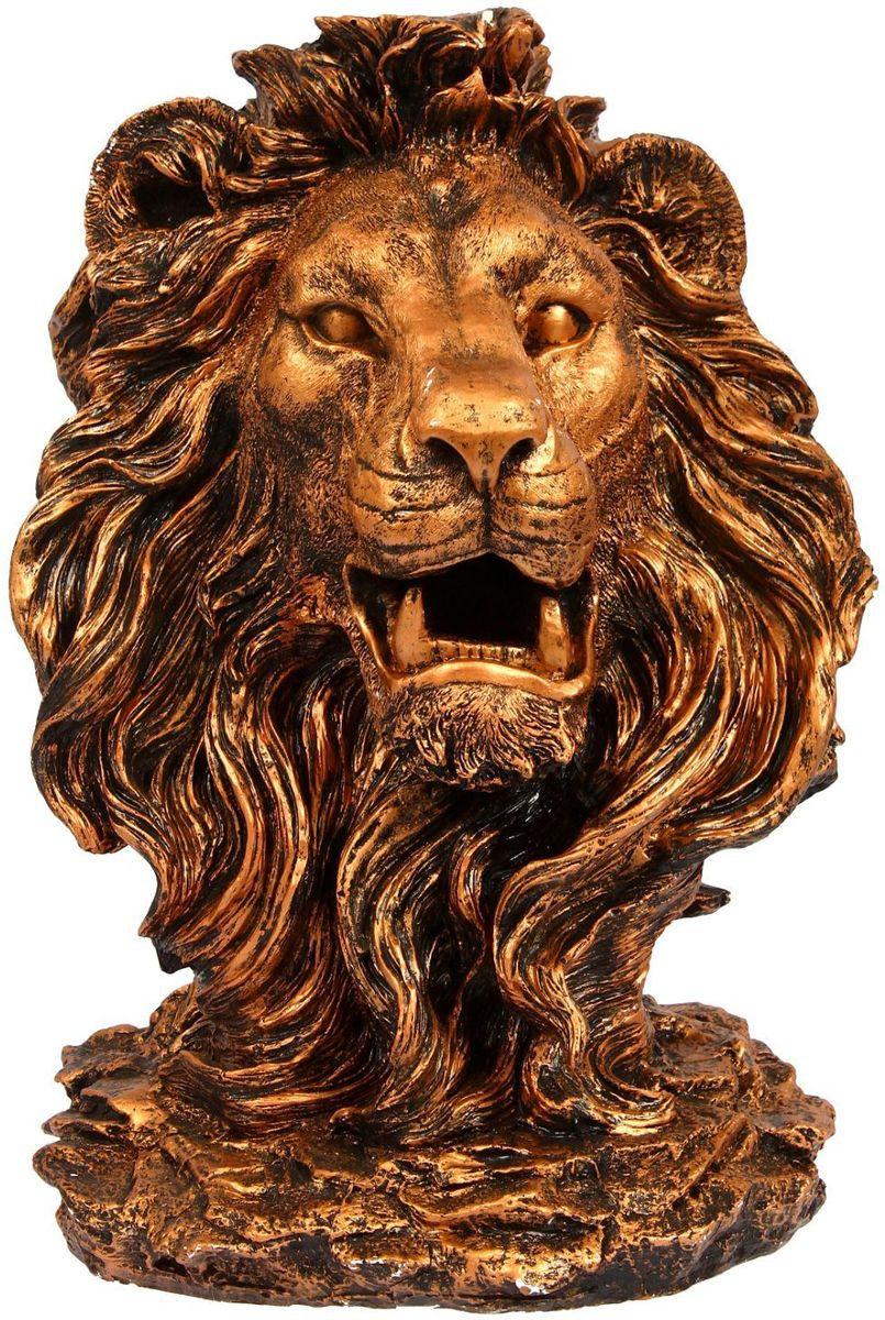 "Фигура садовая ""Голова льва"", цвет: медный, 32 х 42 х 70 см"