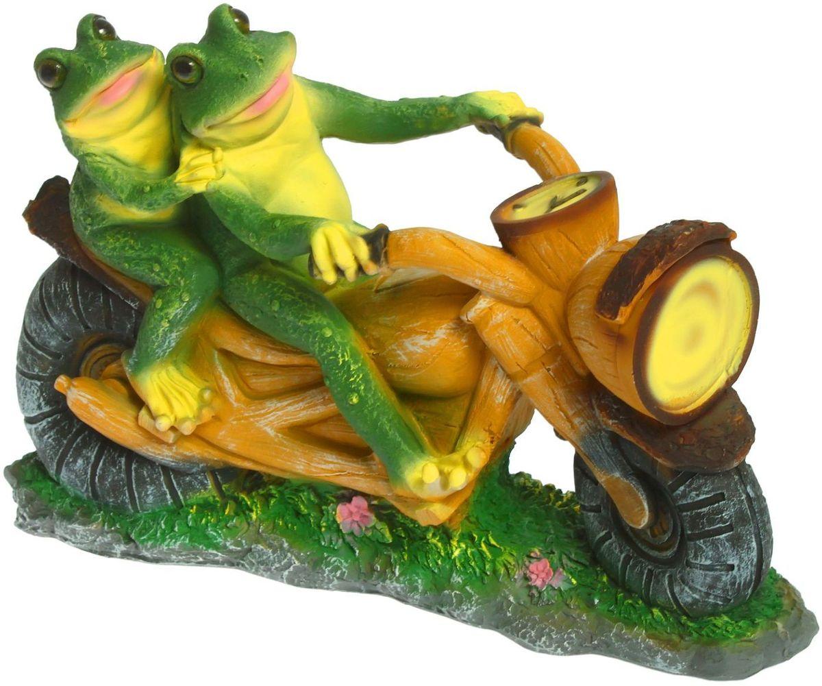 """Фигура садовая """"Лягушки на мотоцикле"""", 12 х 38 х 35 см"""