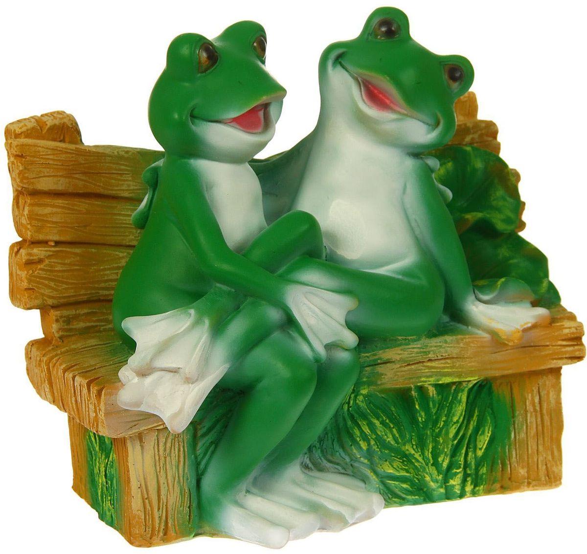 """Фигура садовая """"Пара сидящих лягушек на лавке"""", 28 х 31 х 28 см"""