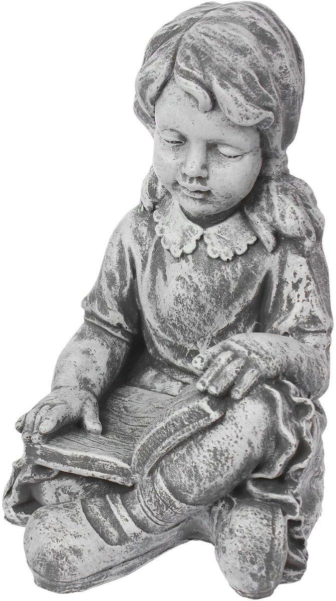 """Фигура садовая """"Девочка с книгой"""", цвет: серый, 30 х 28 х 43 см"""