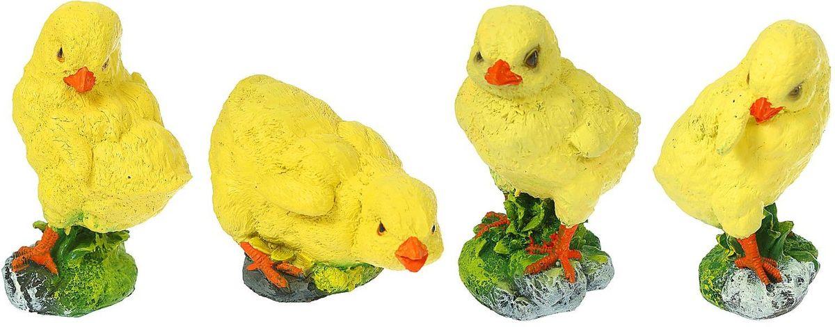 """Набор садовых фигур """"Цыплятки"""", 12 х 8 х 15 см, 4 шт"""