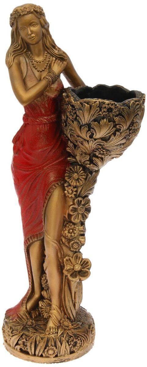 "Фигура садовая ""Лесная фея"", цвет: красный, 34 х 33 х 86 см"