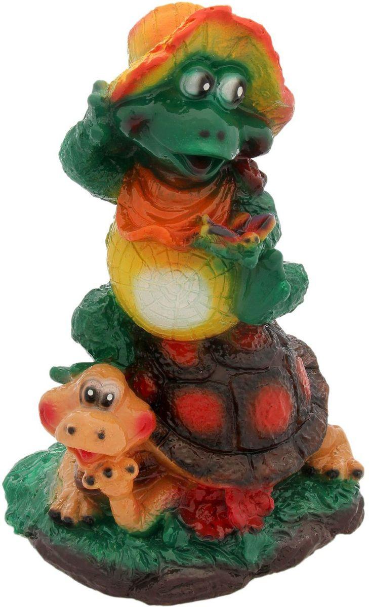 Фигура садовая Premium Gips Жаба на черепахе, 20 х 20 х 32 см садовая фигура gloria garden жаба в камышах 26 5 17 5 26 5 см