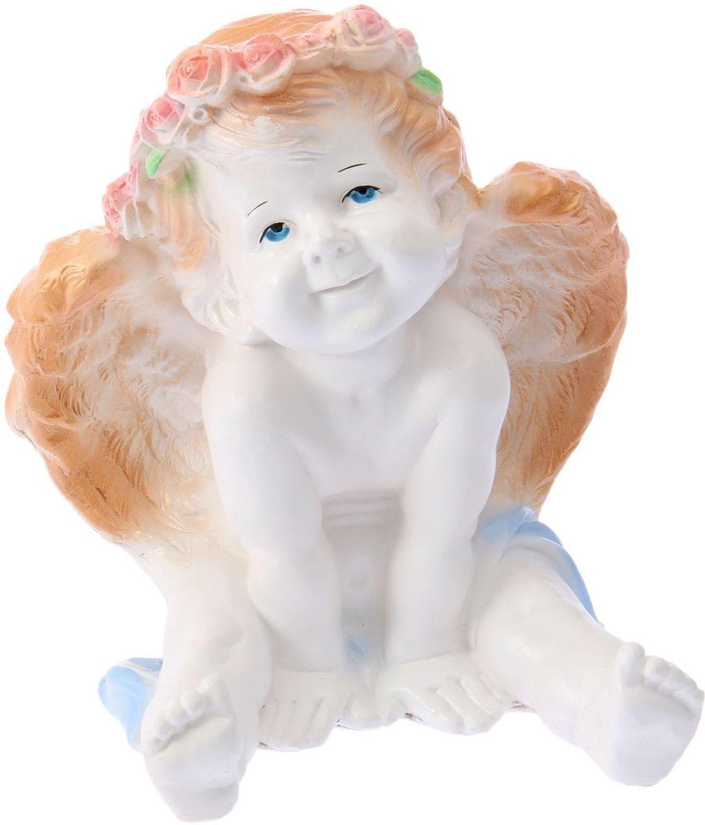 Фигура садовая Ангел карапуз сидя, цвет: белый, золотистый, 20 х 20 х 25 см фигура садовая ежик с лопатой 12 х 12 х 21 см