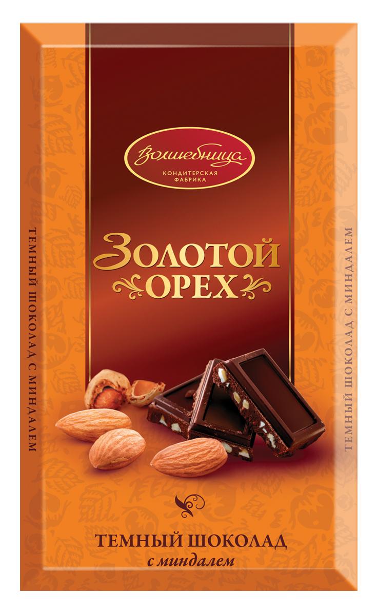 Волшебница Золотой орех шоколад темный с миндалем, 190 г бабаевский темный шоколад cote d ivoire с карамелизованным миндалем 90 г