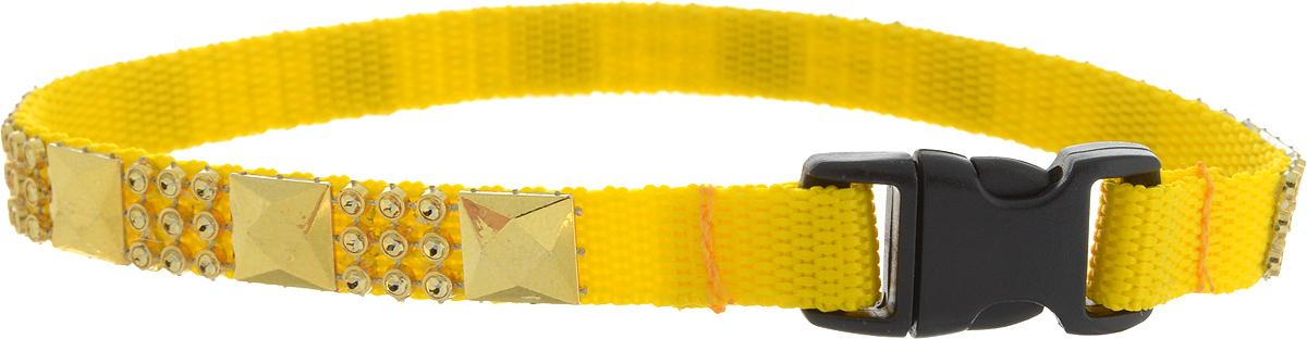 Ошейник для животных GLG Индия, желтый, золотой, ширина 1 см, обхват шеи 22 см ошейник для животных glg мини стайл цвет зеленый золотой ширина 1 см обхват шеи 22 см