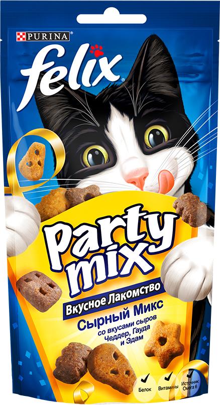 Лакомство для кошек Felix Party Mix Сырный микс, cо вкусами сыров Чеддер, Гауда и Эдам, 60 г лакомство для кошек felix party mix гриль микс со вкусом говядины курицы и лосося 60 г