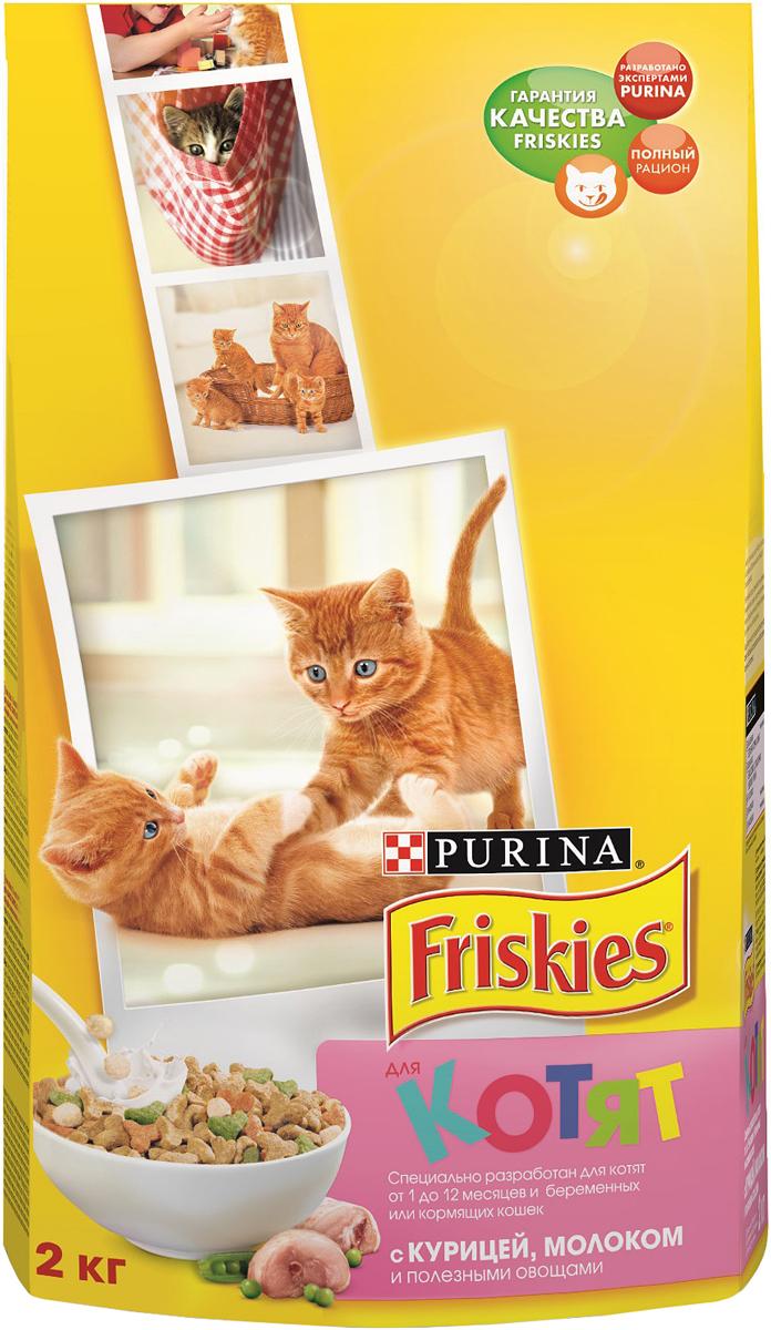 Корм сухой для котят Friskies Junoir, с курицей, морковью и молоком, 2 кг корм для котят friskies с курицей молоком и полезными овощами 2 кг