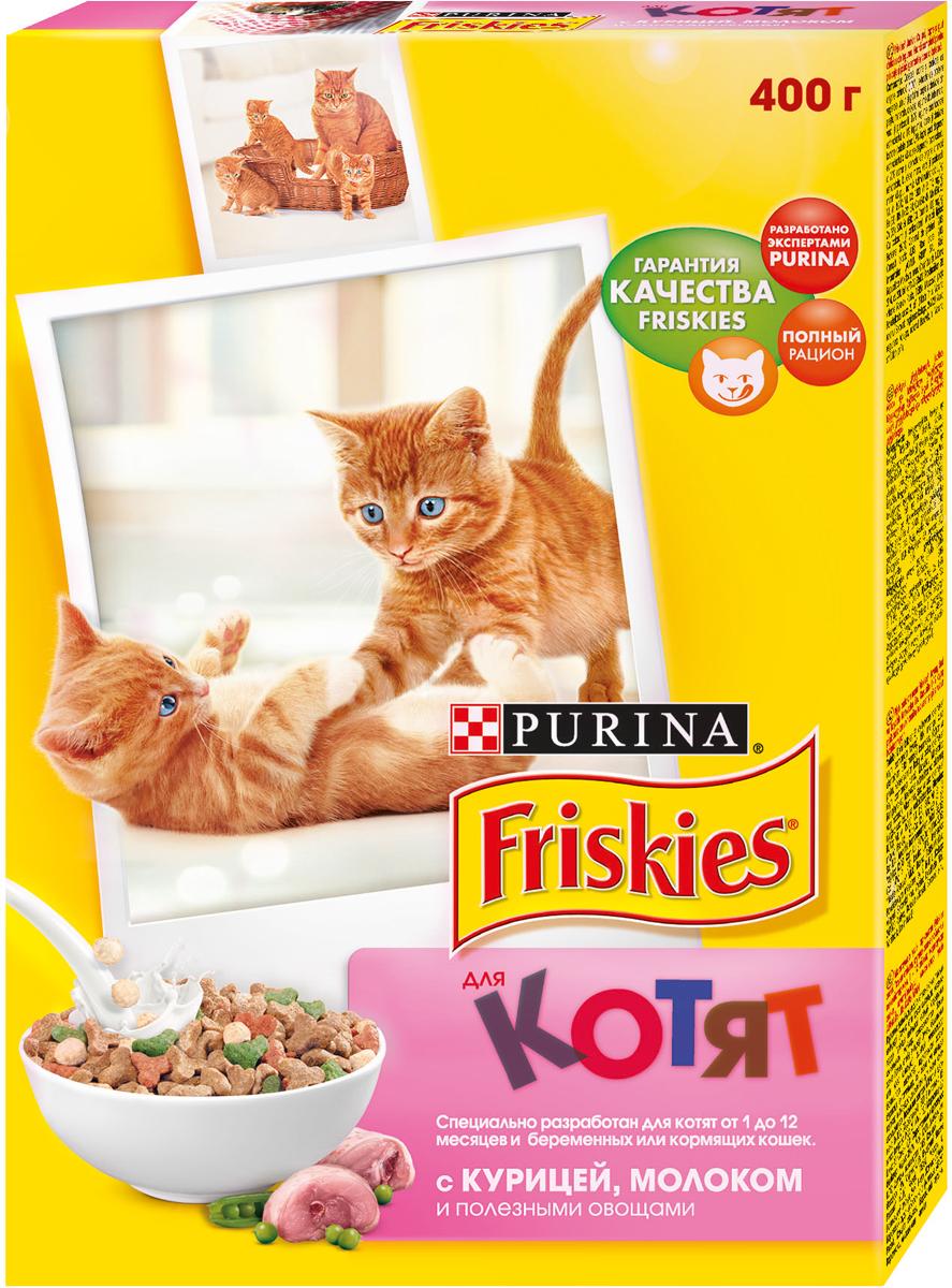 Корм сухой для котят Friskies, с курицей, молоком и полезными овощами, 400 г корм для котят friskies с курицей молоком и полезными овощами 2 кг