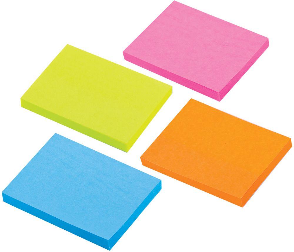 Brauberg Бумага для заметок с липким слоем 3,8 х 5,1 см 4 шт по 50 листов 124807 brauberg бумага для заметок с липким слоем линованая 60 листов