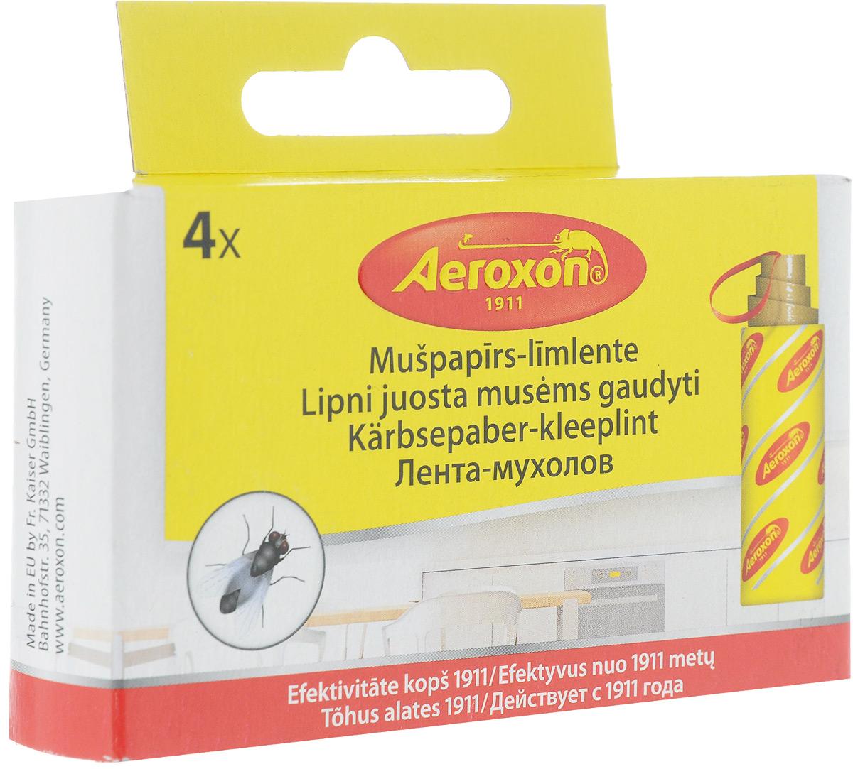 Липкая лента от мух Aeroxon, 4 шт лента липкая от мух bros 4 шт