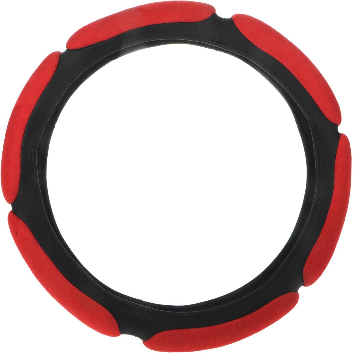 Оплетка руля Autoprofi Sponge SP-5026, 6 подушечек, наполнитель: поролон, цвет: черный, красный. Размер M (37-39 см) оплетка руля autoprofi экокожа размер м черная