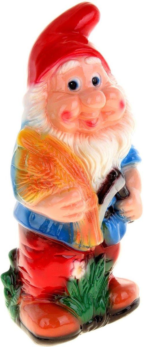 Фигура садовая Керамика ручной работы Гном с колосками, 11 х 17 х 38 см фигура садовая керамика ручной работы крот цвет бежевый 13 х 13 х 11 см