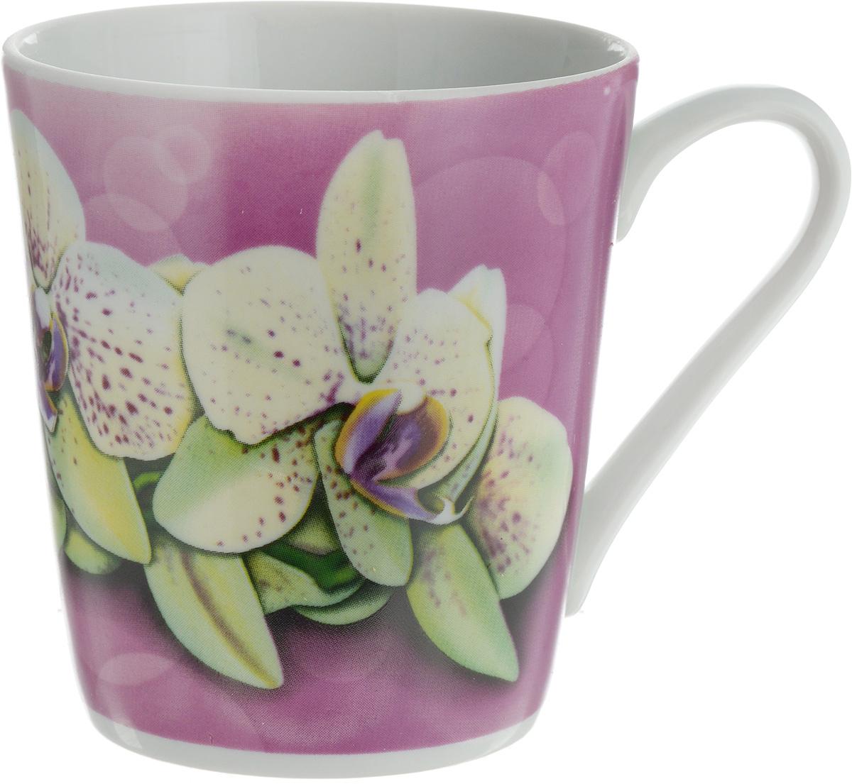Кружка Классик. Орхидея, цвет: сиреневый, белый, 300 мл кружка классик кошки 300 мл