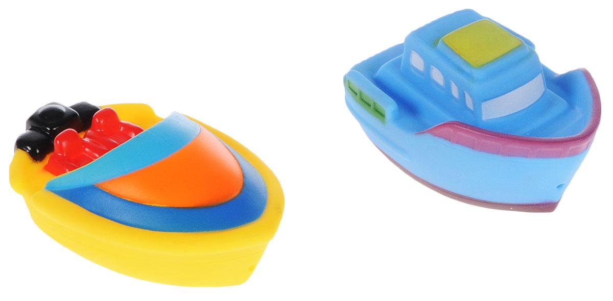 ABtoys Игрушка для ванной Катер-брызгалка цвет желтый голубой 2 шт игрушки для ванны hap p kid игрушка для купания брызгалка пингвиненок