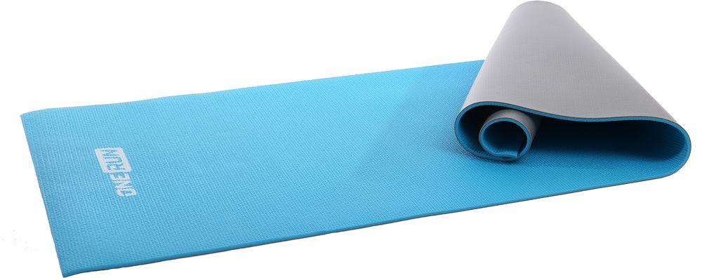 Коврик для йоги OneRun, двойной, цвет: голубой, 181 х 61 см коврик для йоги onerun цвет фиолетовый 183 х 61 х 0 4 см