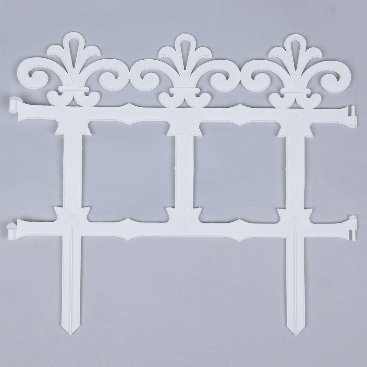 Ограждение садовое декоративное Кострома Пластик Роскошный сад, 7 секций, цвет: белый, 33 х 267 см цена