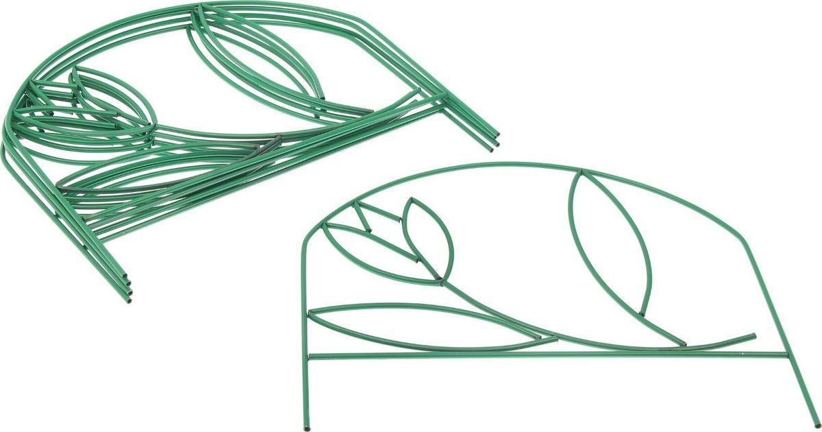 Ограждение садовое декоративное Тюльпан, 5 секций, цвет: зеленый, 70 х 370 см цена
