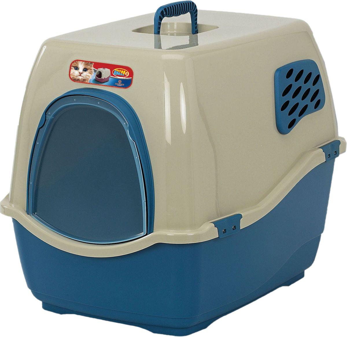 Био-туалет для кошек Marchioro Bill 1F, цвет: синий, бежевый, 50 х 40 х 42 см цена