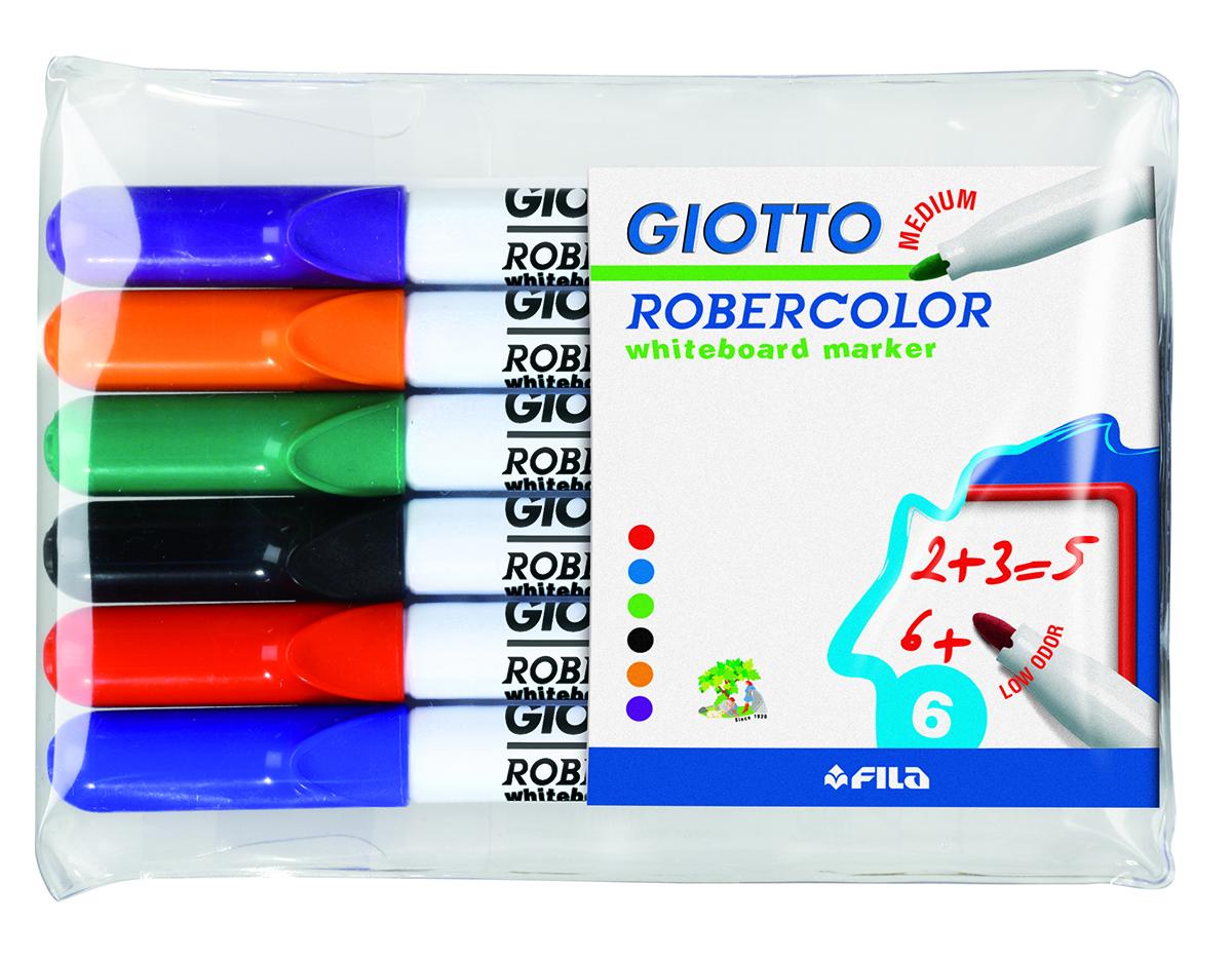 цена Giotto Набор маркеров для белой доски Robecolor Whiteboard Medium 6 шт онлайн в 2017 году