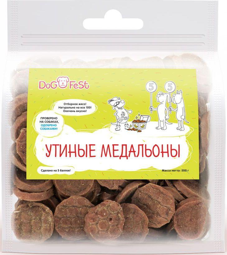 Лакомство для собак Dog Fest Утиные медальоны, 500 г лакомство для собак dog fest пенне говядина и треска 120 г 20 шт