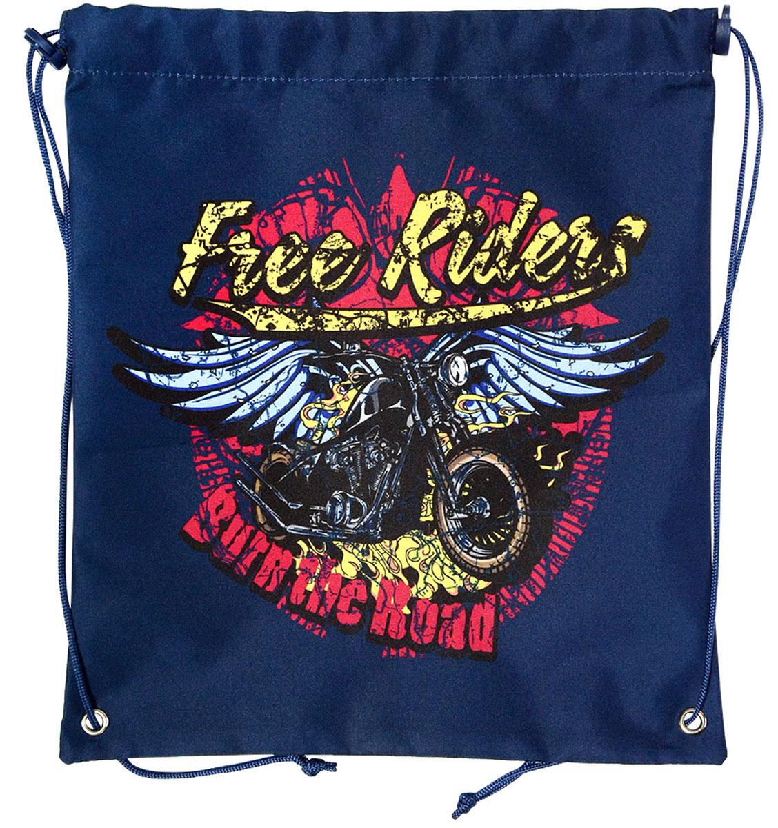 Action! Сумка для сменной обуви Action by Tiger Free Riders Мотоцикл с крыльями цвет синий цена и фото