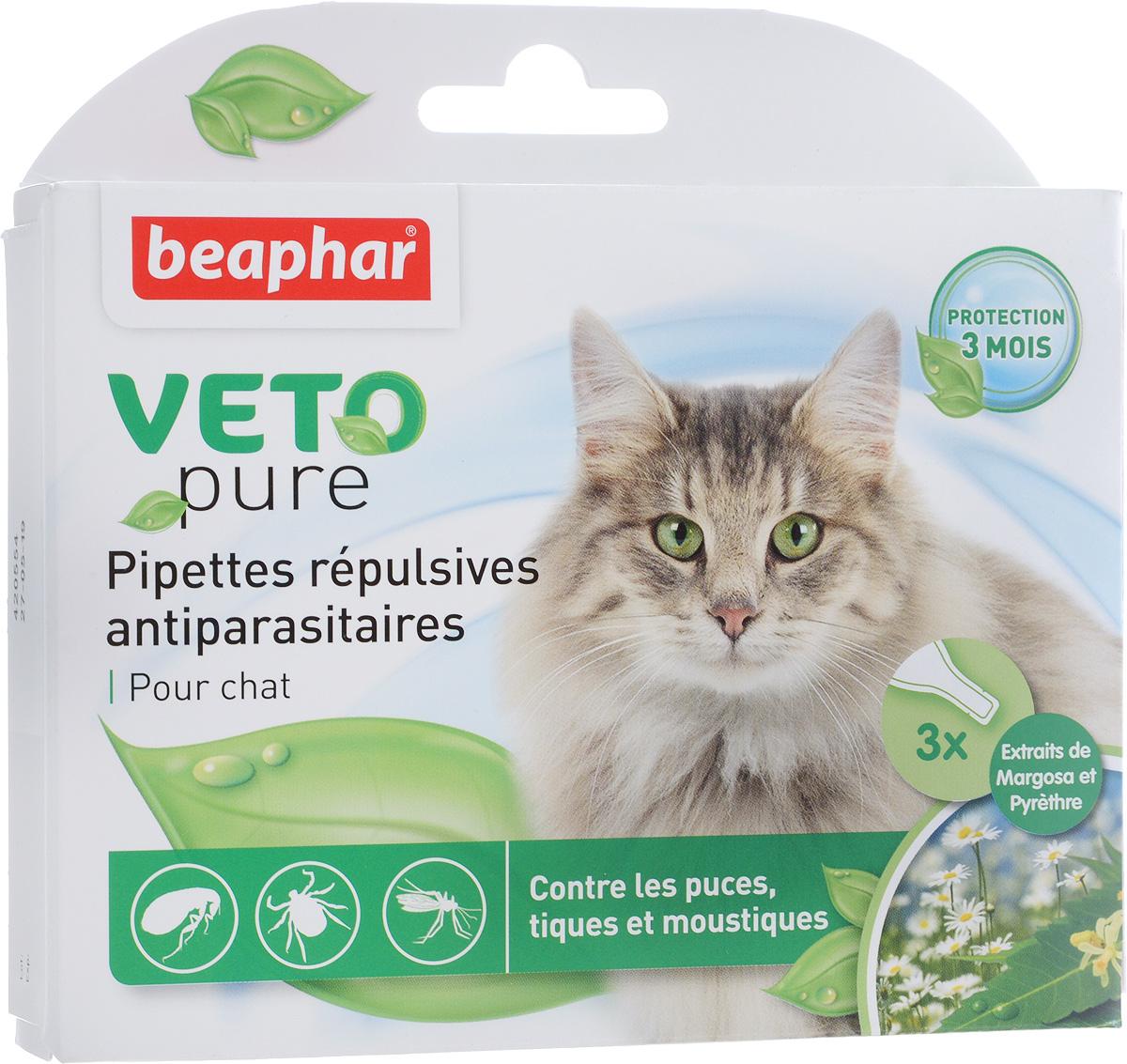 Капли от блох и клещей Beaphar, для кошек с 12 недельного возраста, 3 шт х 1 мл капли от блох и клещей beaphar для щенков 3 х 1 мл