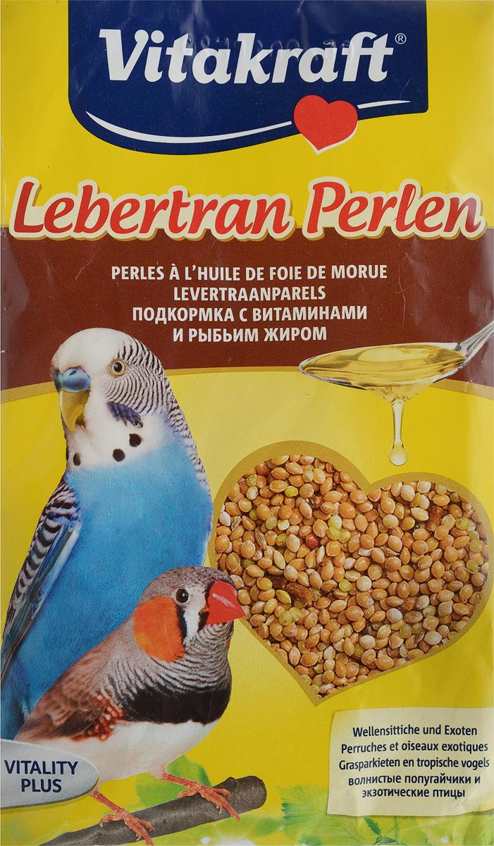 Подкормка для волнистых попугаев Vitakraft Lebertran-Perlen, с витаминами и рыбьим жиром, 20 г корм для птиц vitakraft подкормка для волнистых попугаев йодная 20 г
