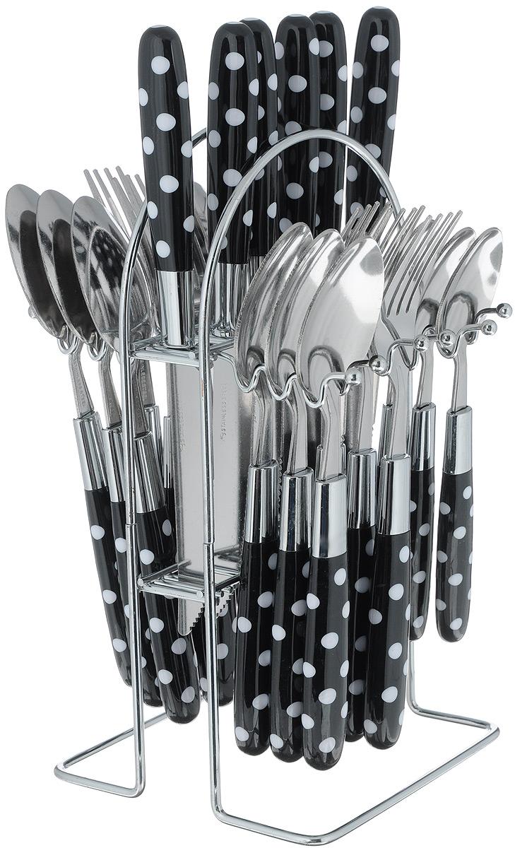 """Набор столовых приборов """"Mayer&Boch"""", цвет: черный, белый, стальной, 25 предметов. 22490"""