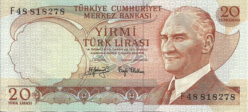 Банкнота номиналом 20 турецких лир. Турция. 1971-1982 гг.1017tur187a(2)Серия и номер банкноты могут отличаться от изображения.