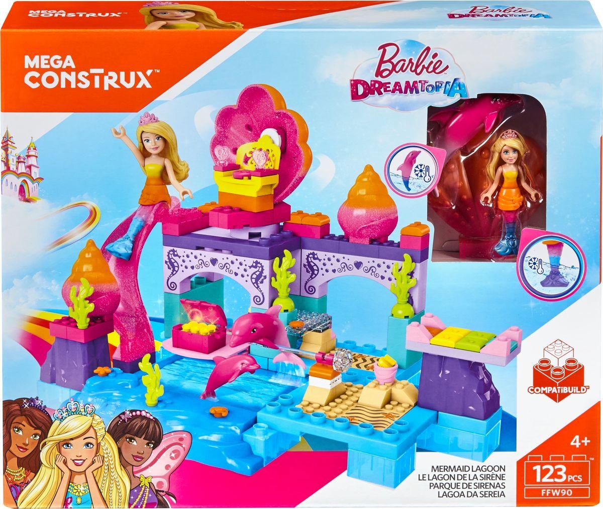 Mega Construx Barbie Конструктор Лагуна русалокFFW90Конструктор Mega Construx Barbie Лагуна русалок приведет в восторг любую маленькую поклонницу знаменитой куколки и позволит пережить увлекательные приключения вместе с любимой героиней. Погрузись в подводный мир вместе с Барби! Ракушки, подводные жители, тайные сокровища — что еще тебя ждет в удивительной лагуне русалок? Хвост русалки меняет цвет, если смочить его прохладной водой. Морские приключения начинаются вместе с Барби! Конструктор - это превосходный подарок для ребенка. Конструирование развивает мелкую моторику, мышление, внимание, воображение, память, пространственное мышление.