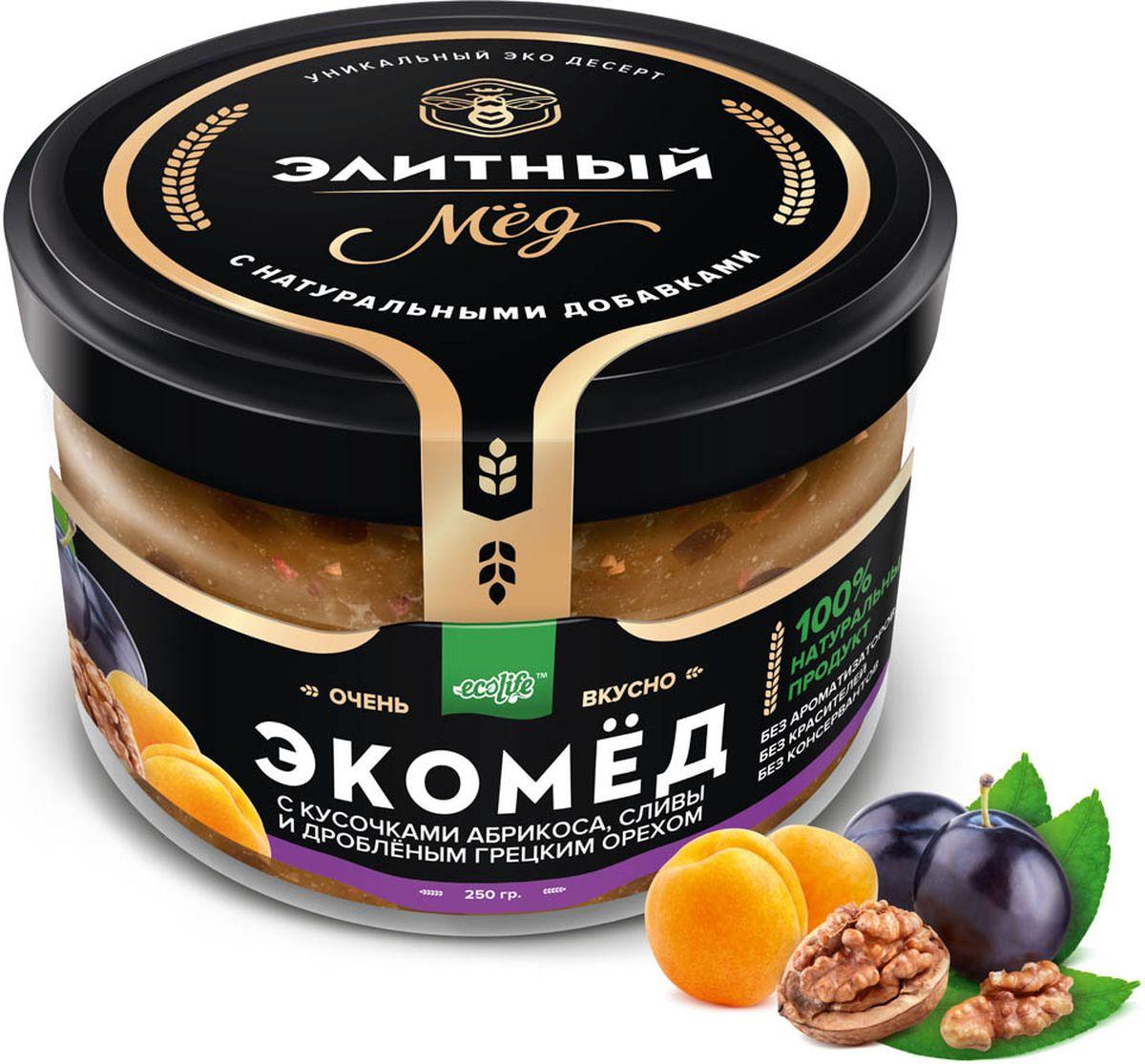 Ecolife Экомед с абрикосом, сливой и грецким орехом, 250 г ecolife экомед с клубникой 250 г