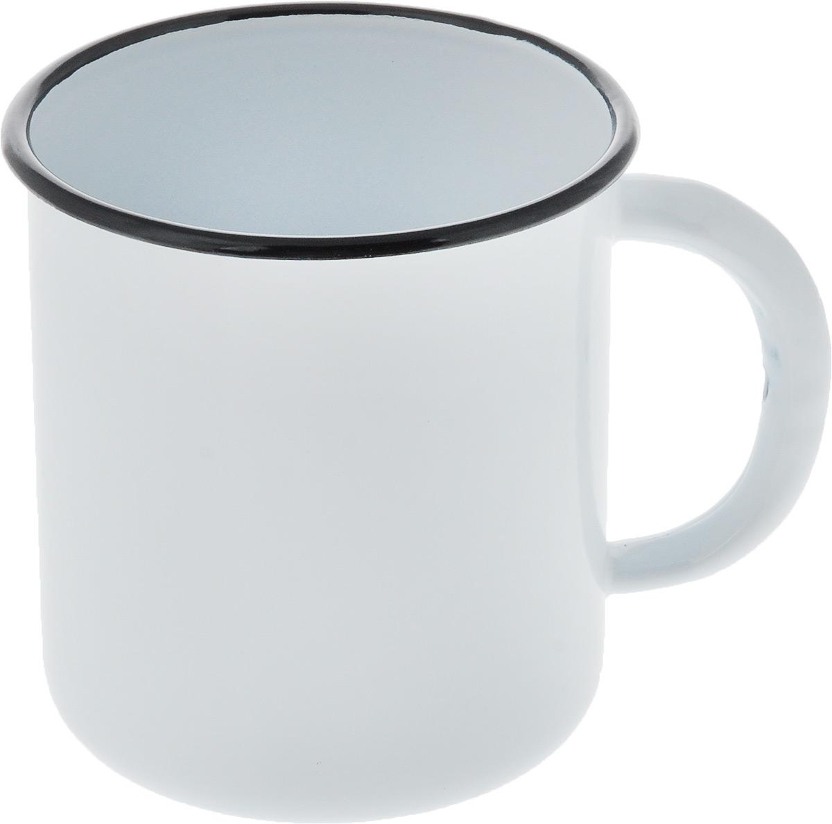 Кружка эмалированная СтальЭмаль, цвет: белый, черный, 1 л кружка стальэмаль 1 л с рисунком