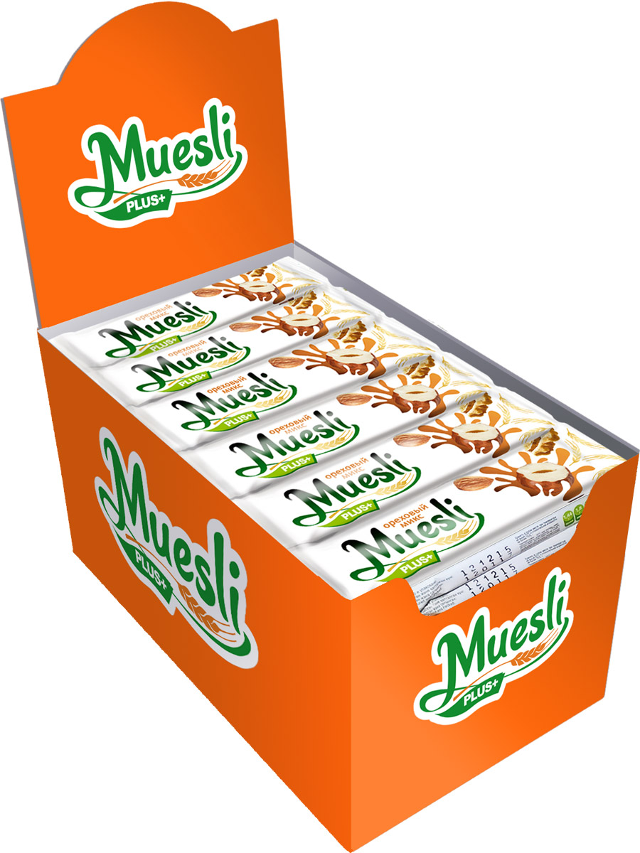 Matti Muesli Plus батончик мюсли ореховый микс, 36 шт по 24 г цена в Москве и Питере