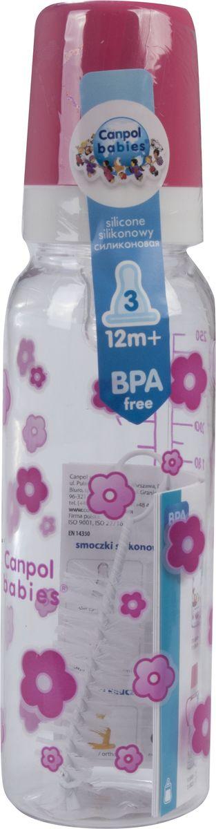 Canpol Babies Бутылочка с силиконовой соской от 12 месяцев цвет розовый 250 мл